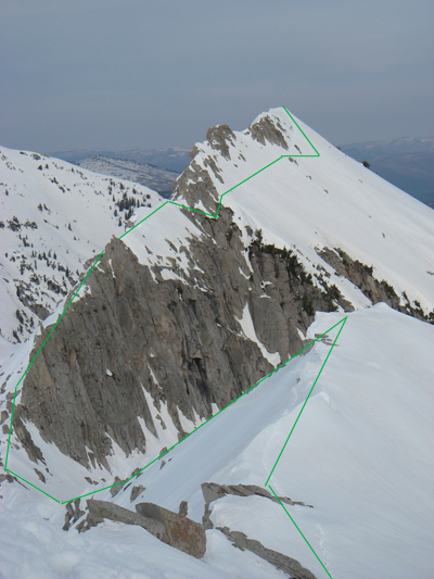 Looking back at the Big Horn crux from the shoulder of Lone Peak.