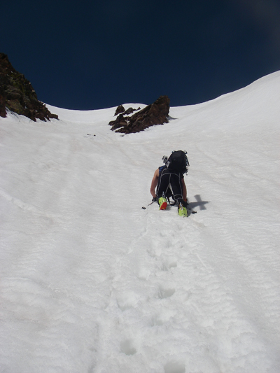 We opted for the snow couloir versus rocky ridge. The snow turned sloppy.