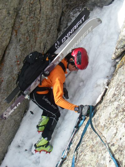 With the aid of a little webbing we down climbed a small couloir.