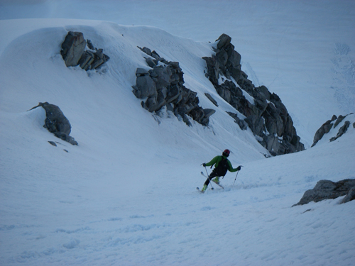 Funky conditions on the shady NE Face.