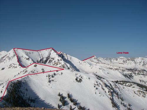 Our route cut into Snowbird where we skinned by the tram and checked=